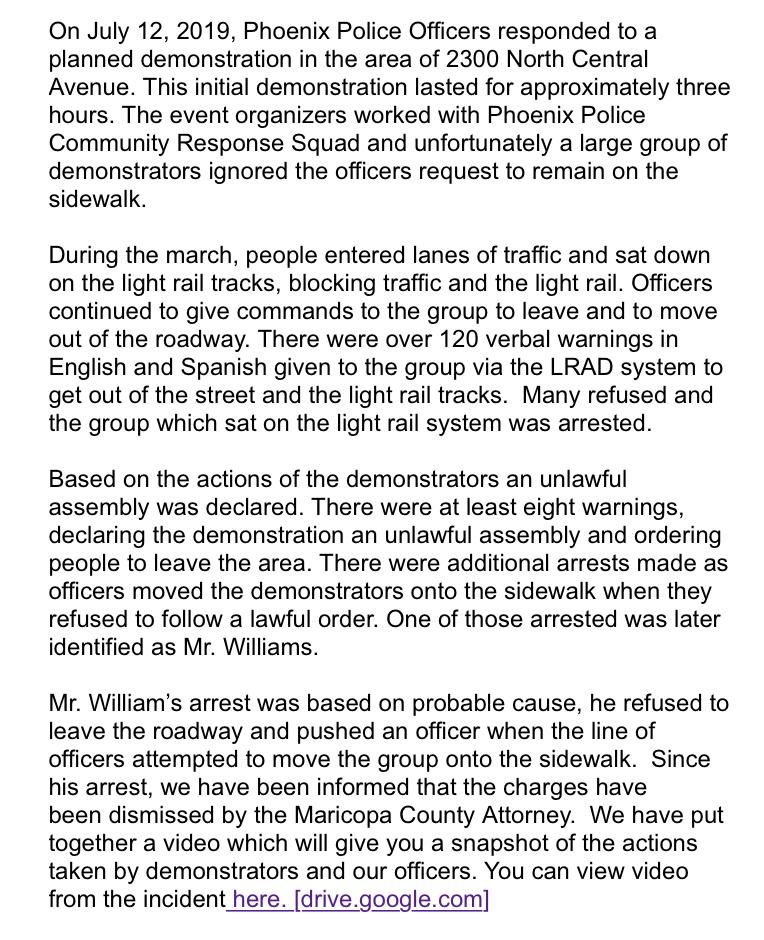 Phoenix Police Department statement