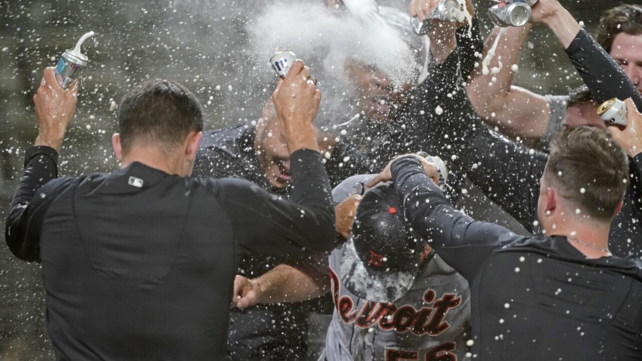 Spencer Turnbull no-hitter celebration Tigers Mariners Baseball
