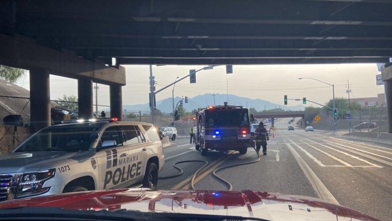 A serious injury vehicle wreck shut down westbound Orange Grove near Interstate 10 Monday. Photo via Northwest Fire.