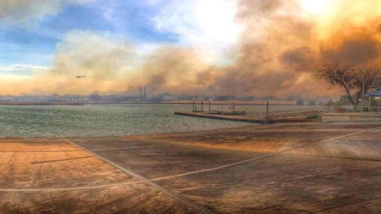 Wildfire burning near Arizona, California border