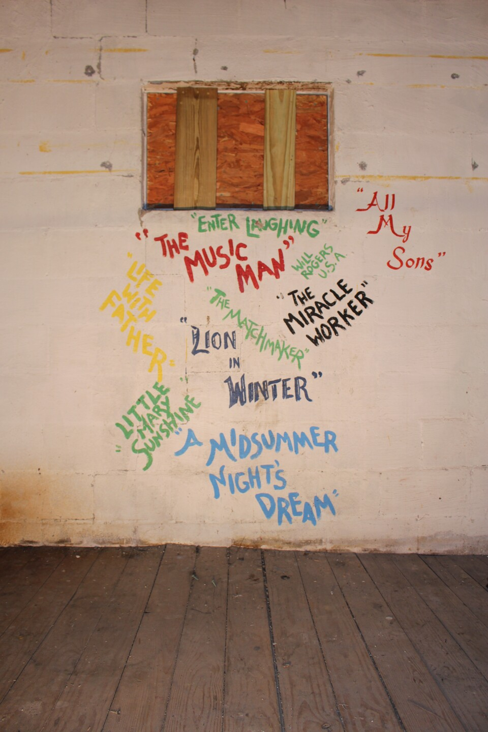 10 - PC, community theater, productions stenciled on wall of Annex (now removed).JPG