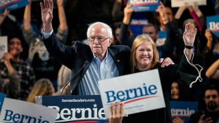 Democratic presidential candidate Sen. Bernie Sanders (I-VT) and his wife Jane Sanders wave at the end of a campaign rally at the University of Houston on February 23, 2020 in Houston, Texas. With early voting underway in Texas, Sanders is holding four rallies in the delegate-rich state this weekend before traveling on to South Carolina. Texas holds their primary on Super Tuesday March 3rd, along with over a dozen other states.
