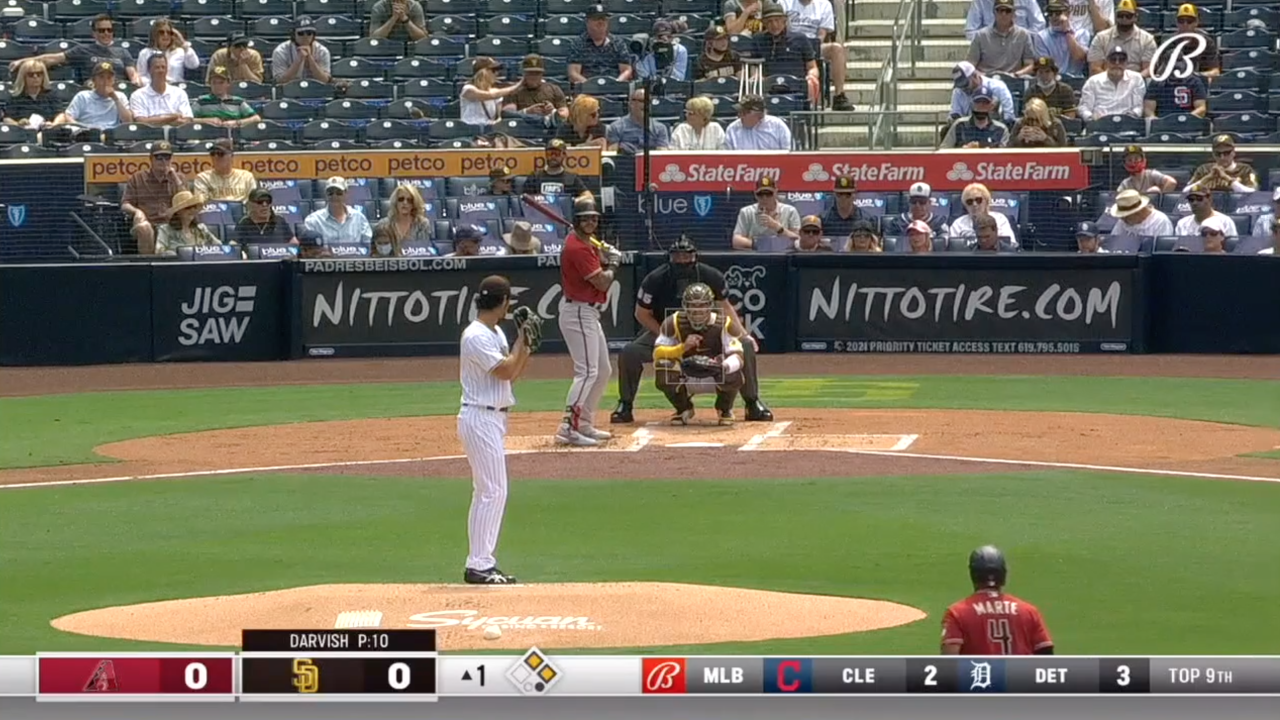 Padres Opening Day -- Barely anyone wearing masks behind home plate.png