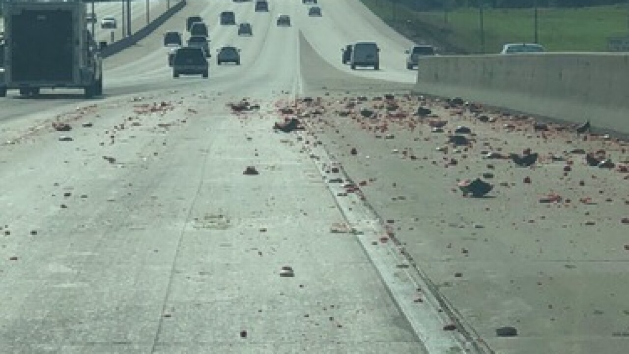 Watermelons splatter roadway on I-680