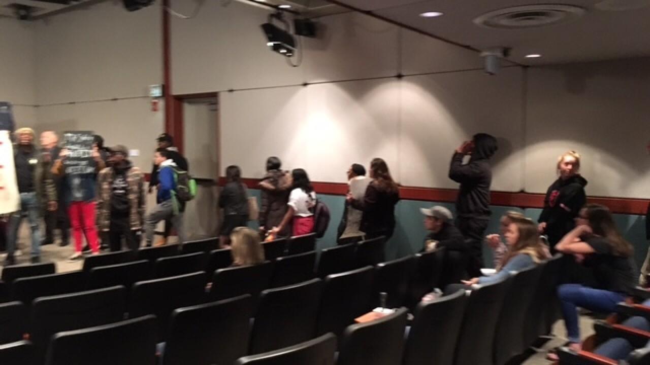 WATCH: Protesters interrupt DePauw presser