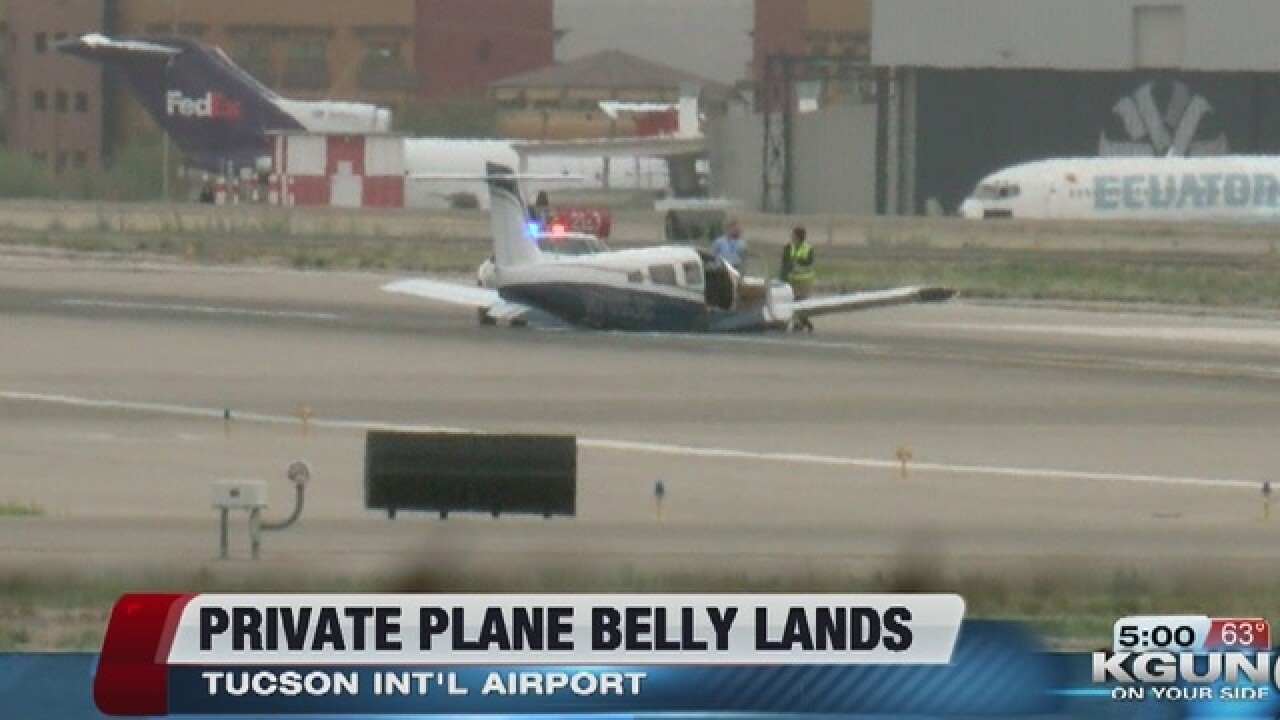 """Small plane """"belly lands"""" at TIA"""