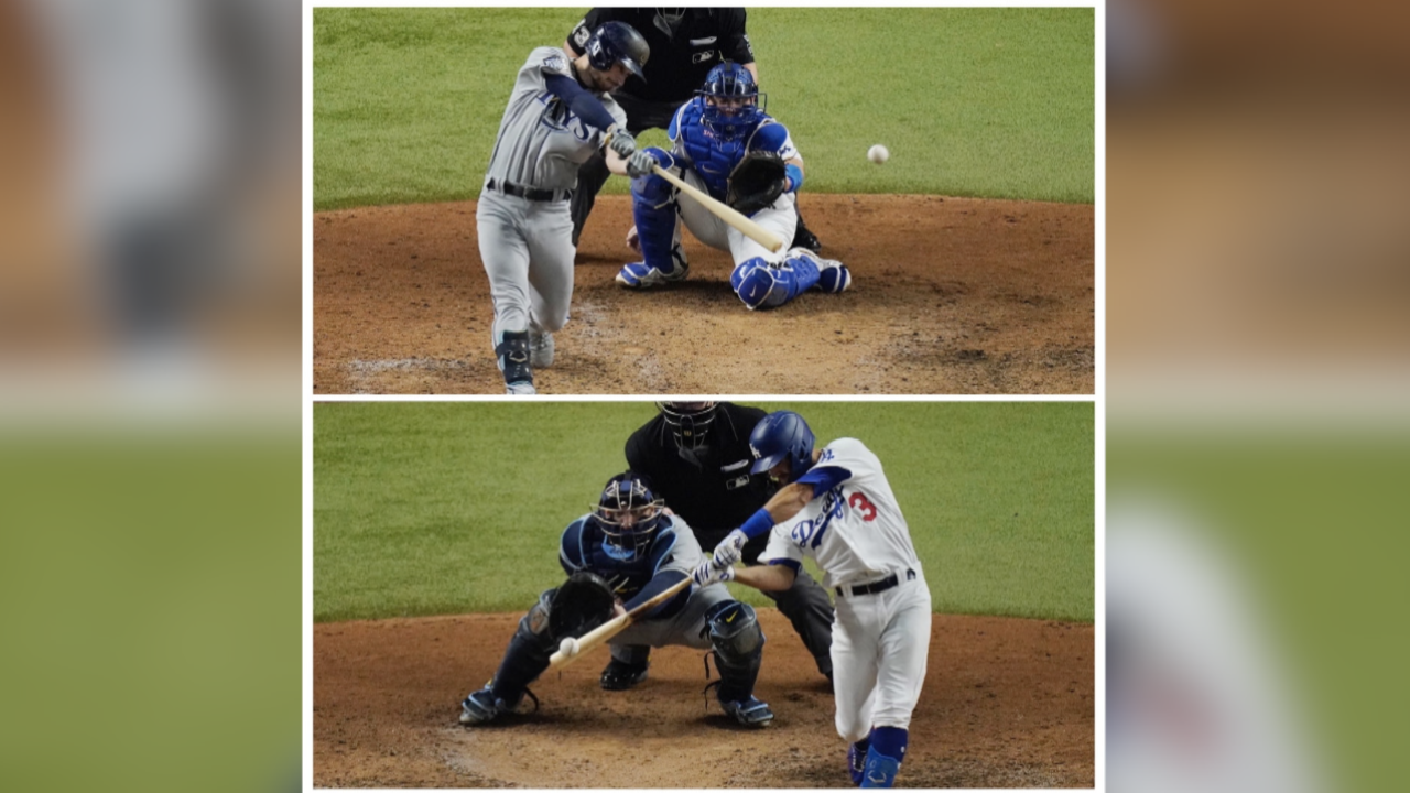 Brandon Lowe (top), Chris Taylor (bottom) in 2020 World Series (Courtesy AP Images)