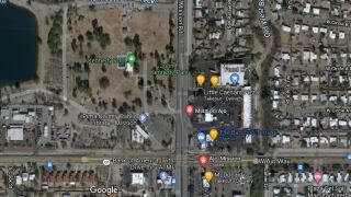A woman was hospitalized after she was stabbed at a park near Ajo and Mission Wednesday.