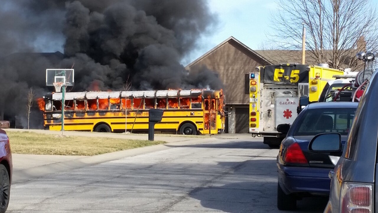 Blue Springs school bus catches on fire