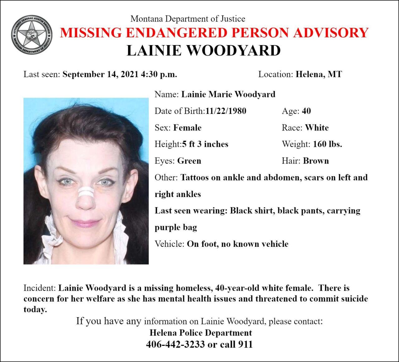 Missing Endangered Person Advisory for Lainie Woodyard