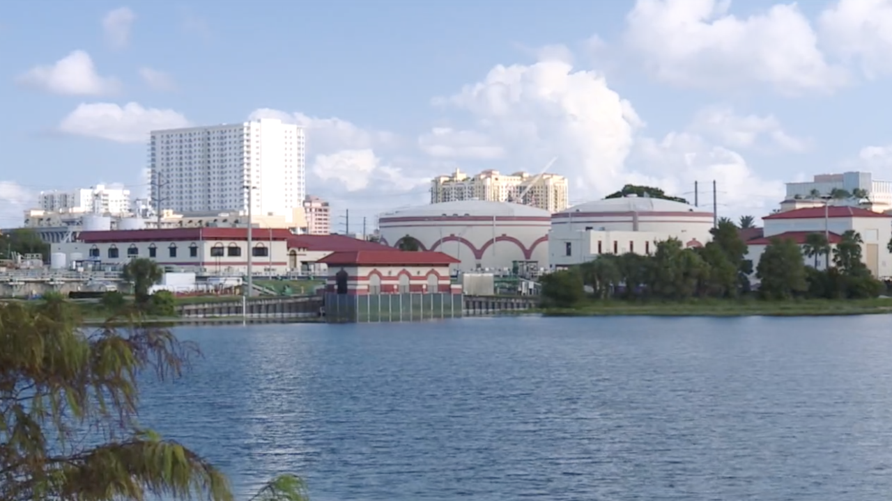 City of West Palm Beach Water Treatment Plant next to lake