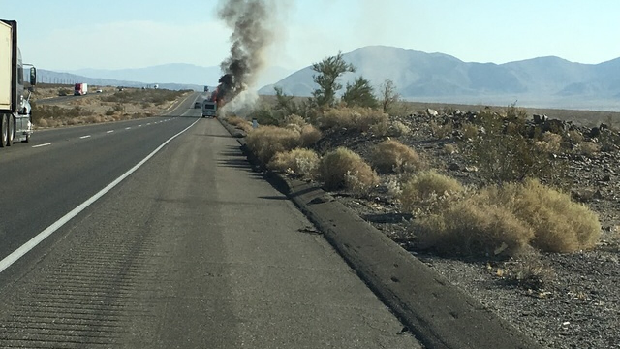 RV catches fire outside of Baker, California