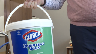Tub of disinfecting wipes