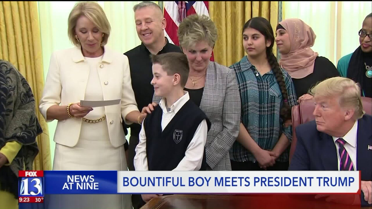 Utah boy forced to remove Ash Wednesday cross last year meets President Trump