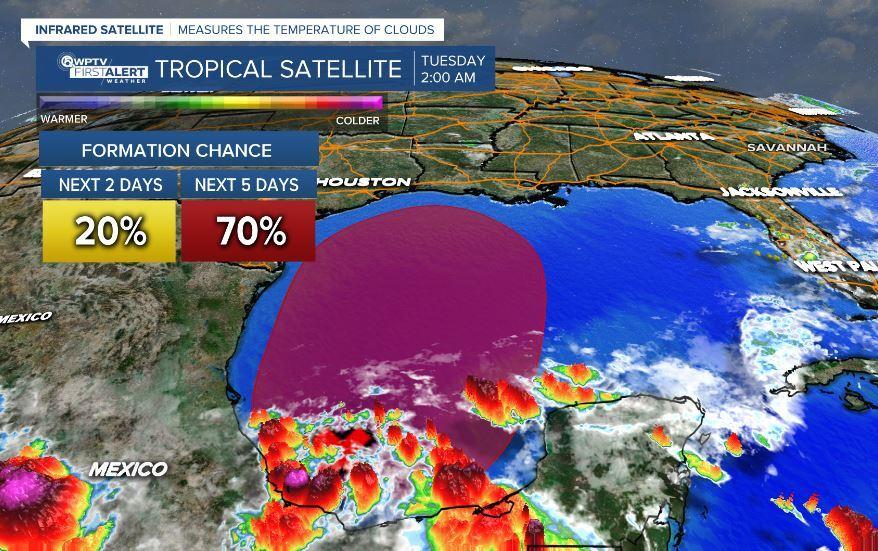 Tropical Satellite Tuesday 2 a.m. possible Claudette June 15, 2021