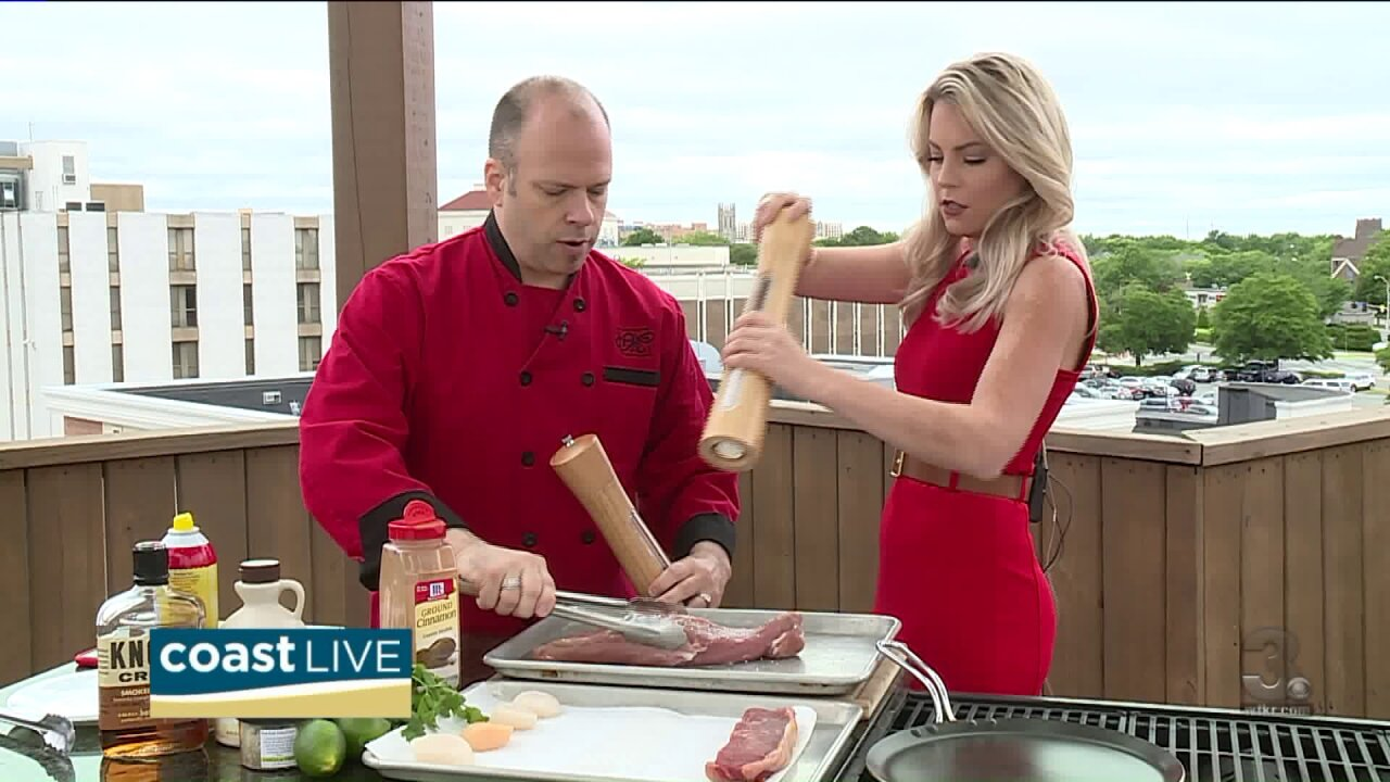 Chef May with grilling tips for steak, scallops and pork on Coast Live