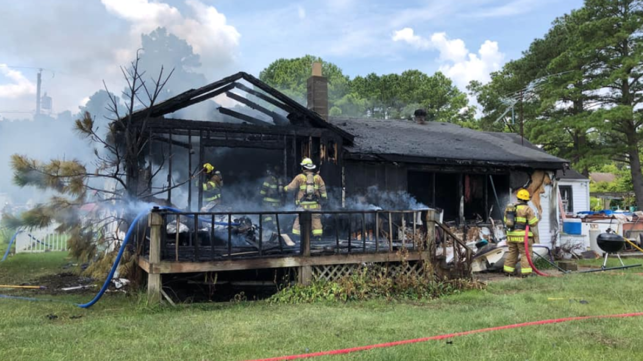 Chesapeake Fire Department helping out in North Carolina house fire