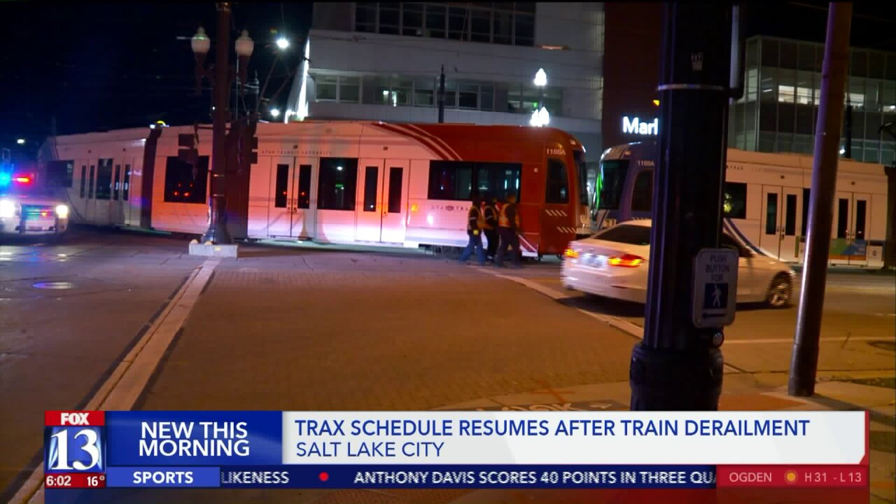 Derailment in downtown Salt Lake City slows TRAX service Wednesday morning