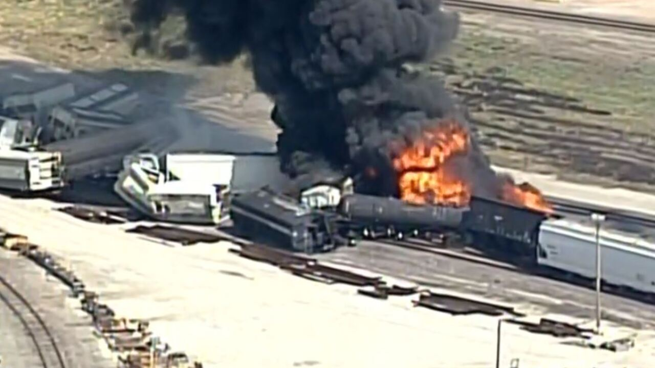 Watch: Train car on fire after Illinois derailment