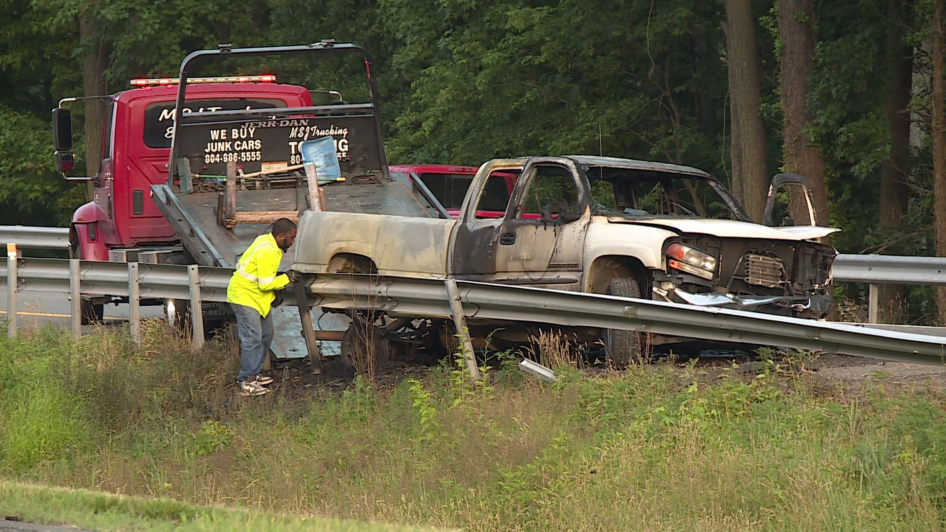 Photos: Pickup truck catches fire; I-64 east closed near AirportDrive