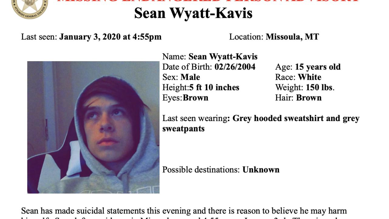 Missing/Endangered Person Advisory issued for Missoula teen
