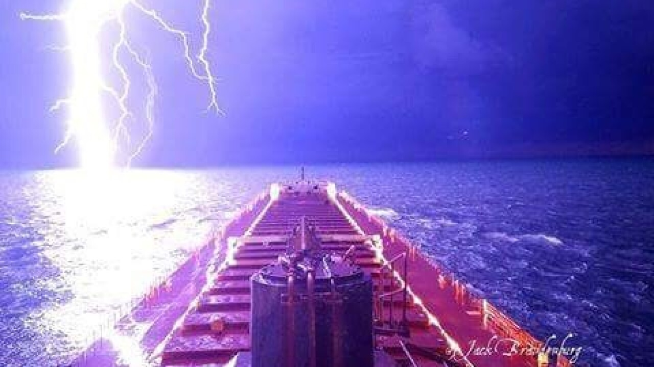 Check out this incredible photo of a lightning bolt over Lake Michigan