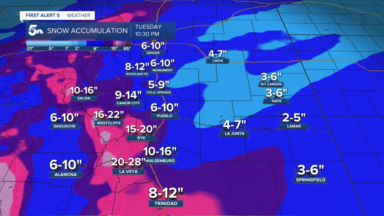 Southern Colorado snowfall forecast