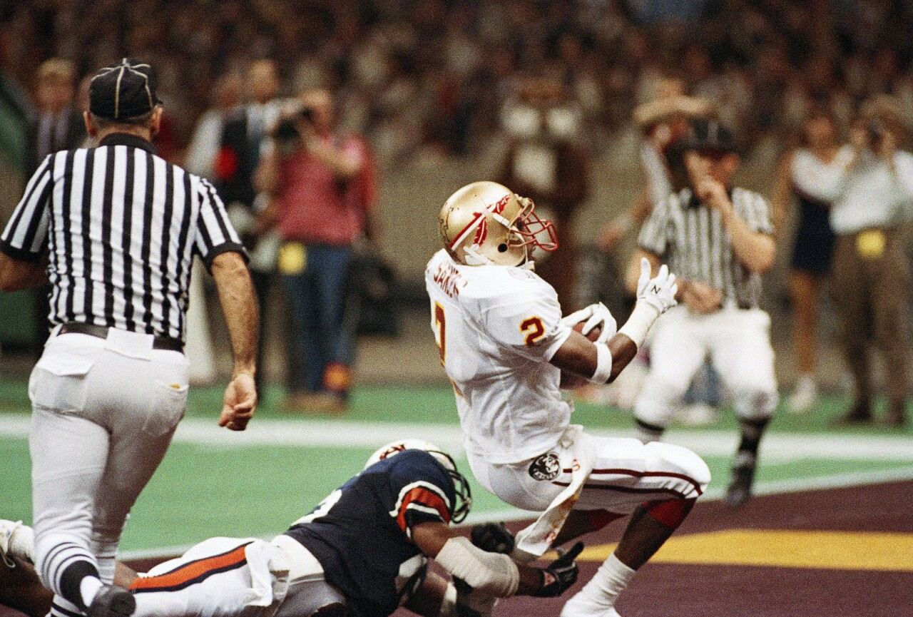 Florida State Seminoles cornerback Deion Sanders winning interception against Auburn Tigers in 1989 Sugar Bowl