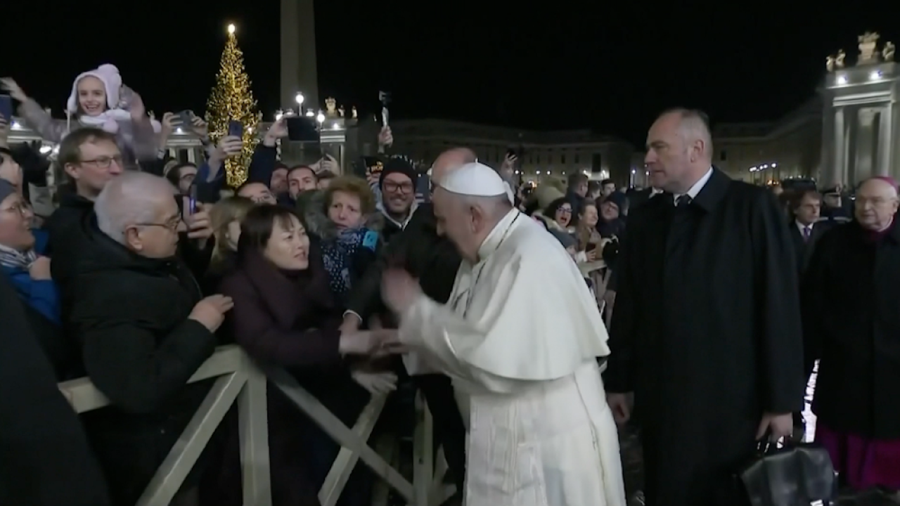 Pope Francis denounces violence against women hours after slapping woman's hand away