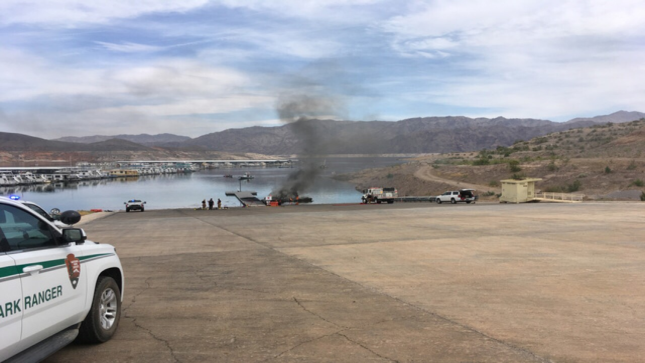 Vehicle and boat catch fire at Lake Mead