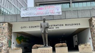 Movimiento Cosecha banner in Grand Rapids