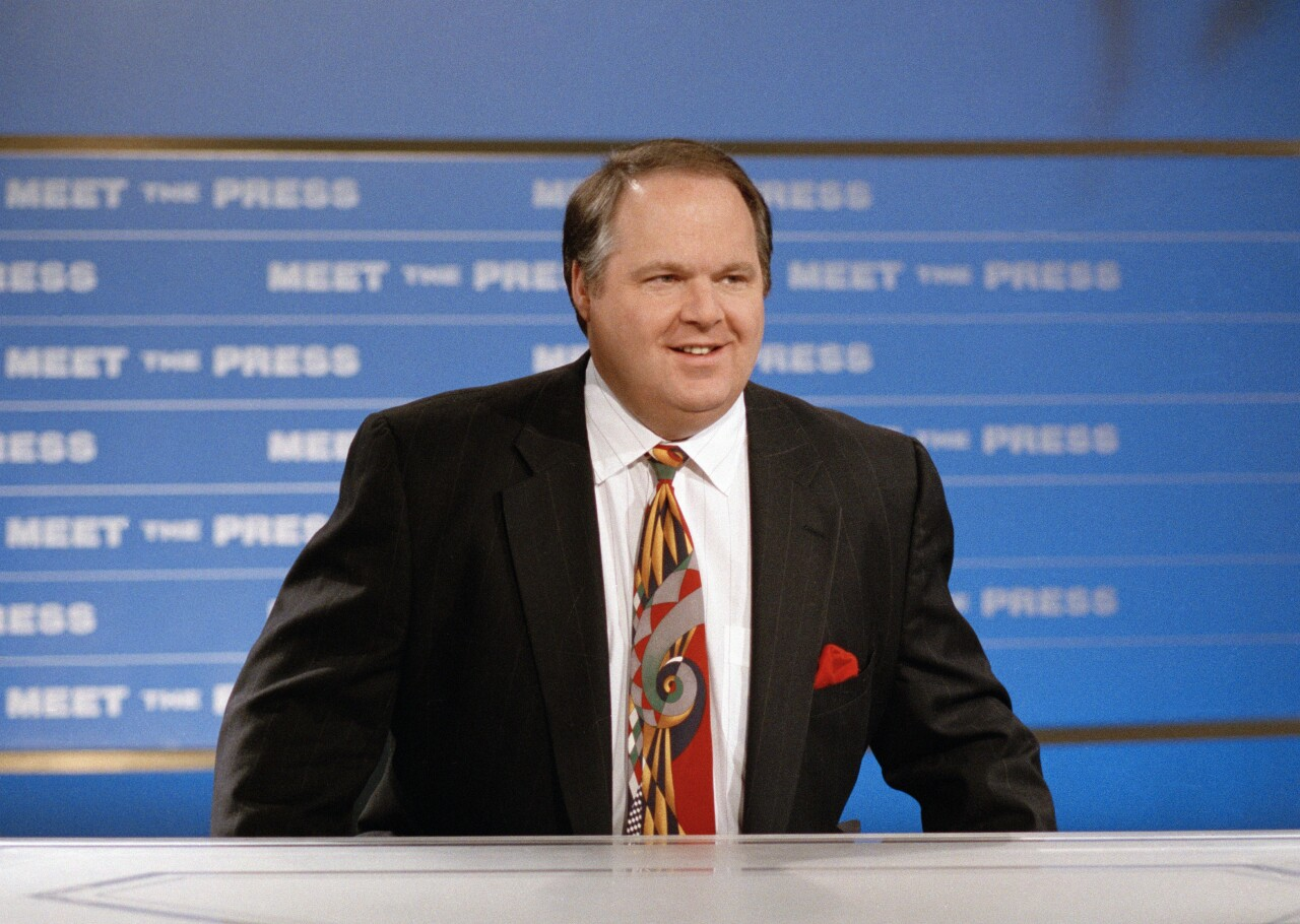 Rush Limbaugh on set of 'Meet the Press' in 1993