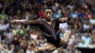 Simone Biles competes on floor exercise during Women's Senior competition of the 2019 U.S. Gymnastics Championships at the Sprint Center on August 11, 2019 in Kansas City, Missouri. (Photo by Jamie Squire/Getty Images)