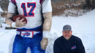 Local artist carves Josh Allen in ice
