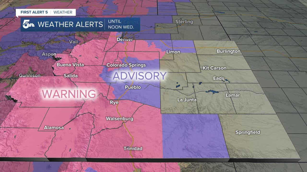 Southern Colorado winter weather alerts