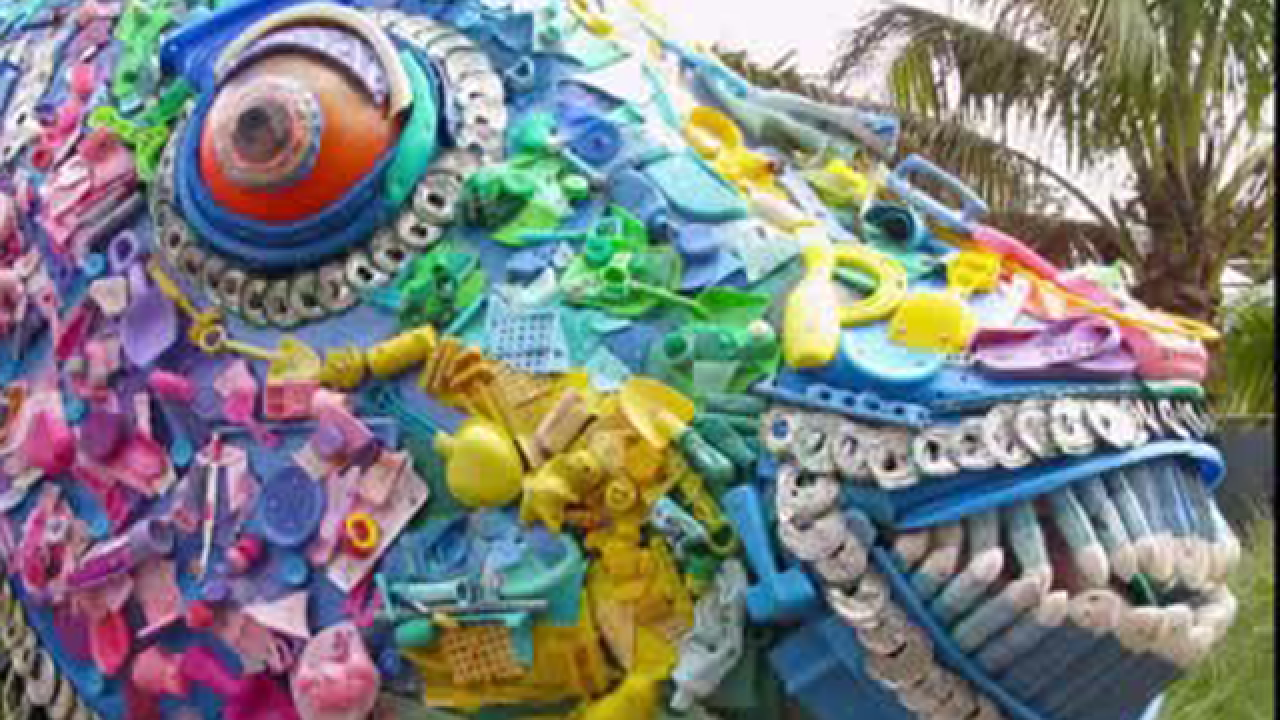 Art designed to save the seas at Naples Zoo highlights problem of pollution from plastic debris