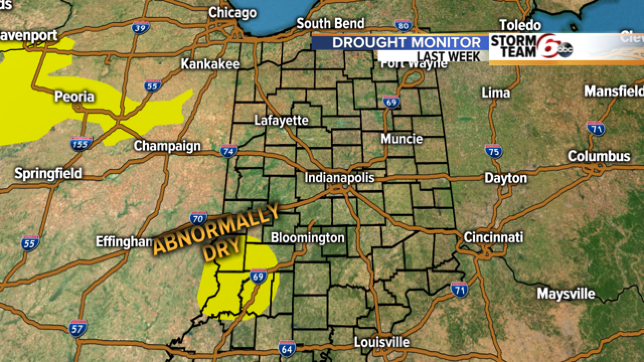 Nearing drought conditions in central Indiana
