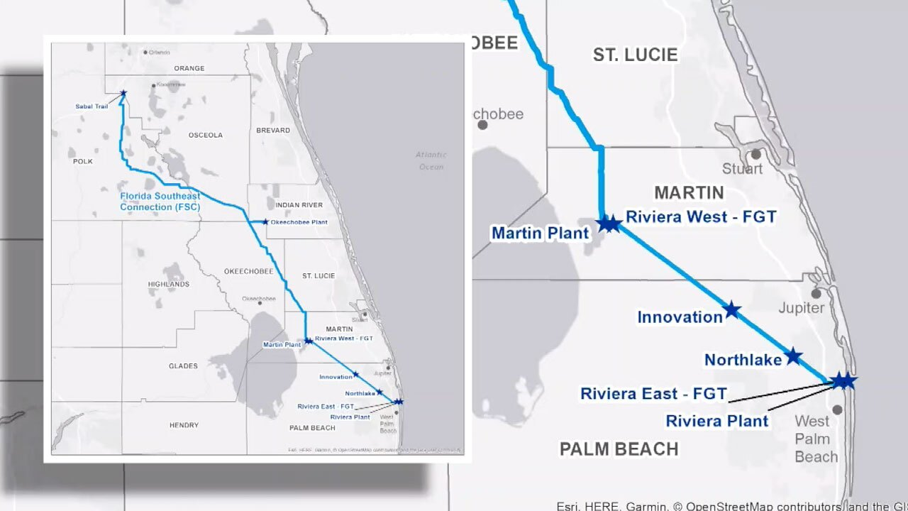 Map of Natural Gas Pipeline in Florida