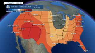 Temperature outlook June through August 2021