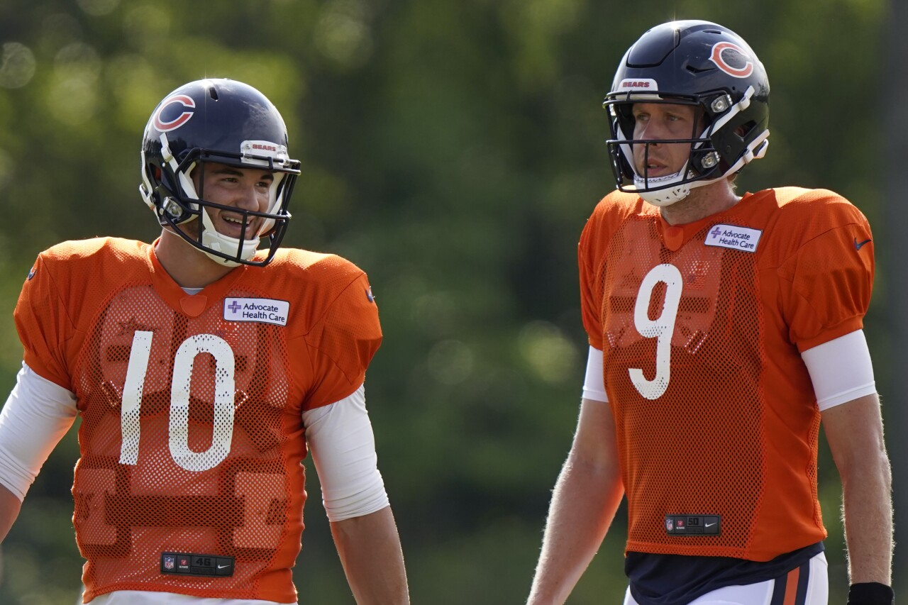 Chicago Bears QBs Mitch Trubisky and Nick Foles in training camp, August 2020