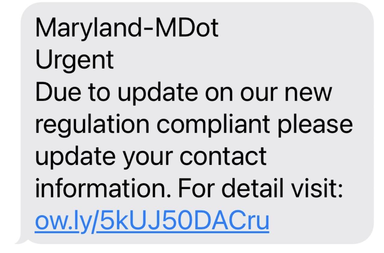 Phony MDOT Message