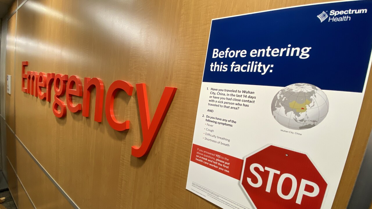 Spectrum Health Coronavirus Signage in Emergency Room