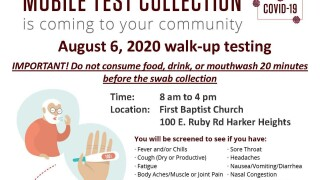 August 6  2020 COVID Testing Flyer harker heights