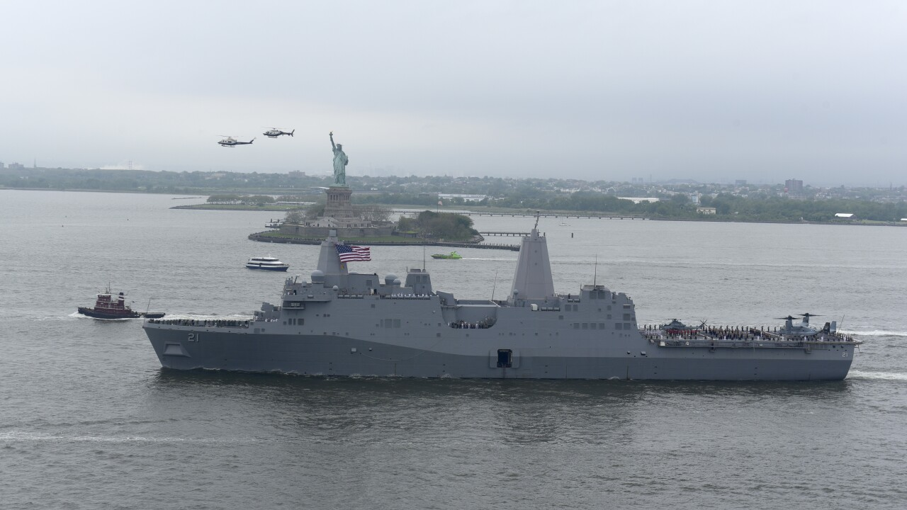 USS New York Leaves after Fleet Week NY