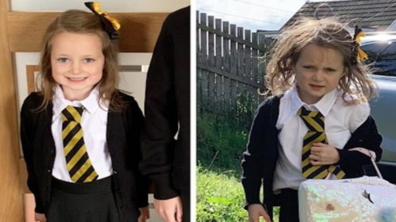 This Girl's Viral Before And After Photo From The First Day Of School Is Hilarious