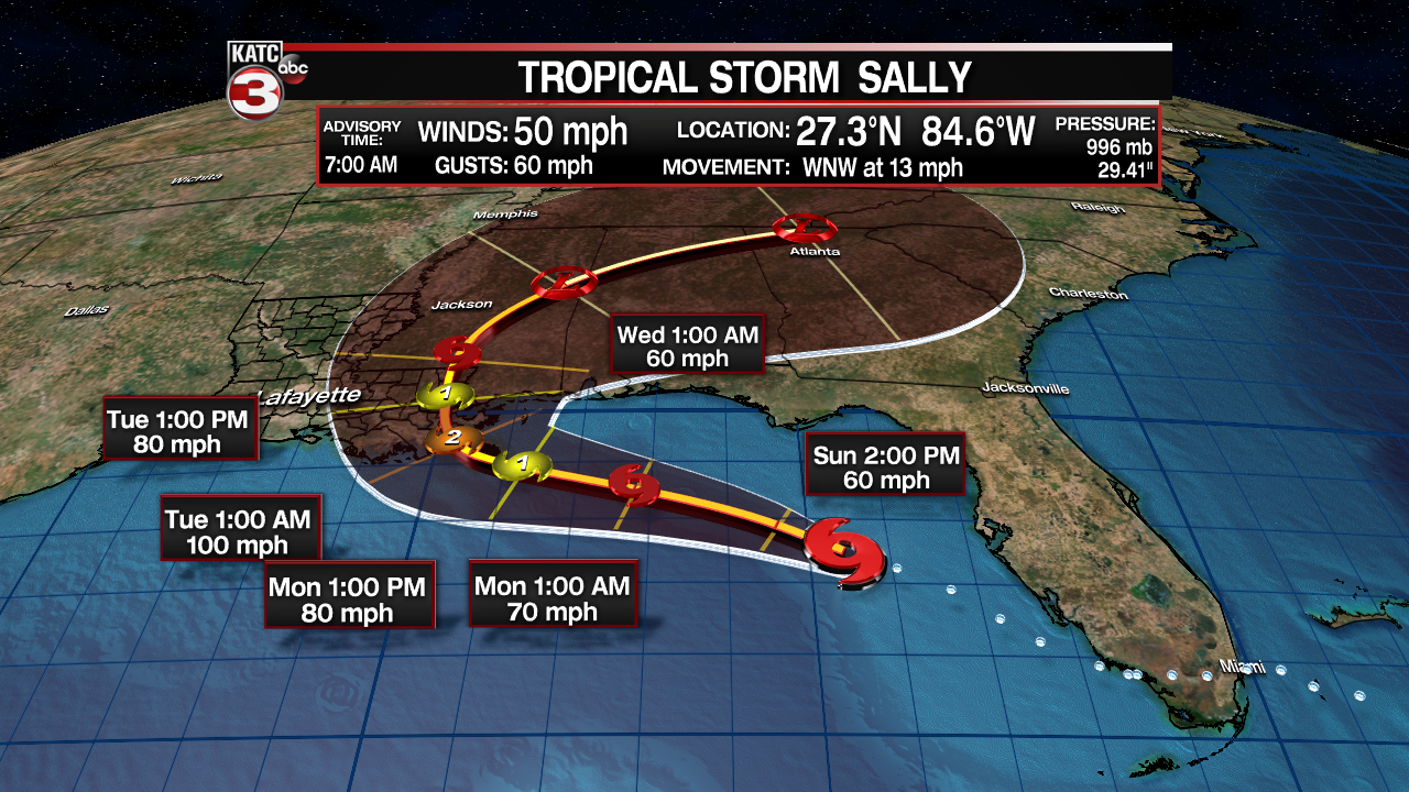 Sally Starts To Show Signs Of Strengthening