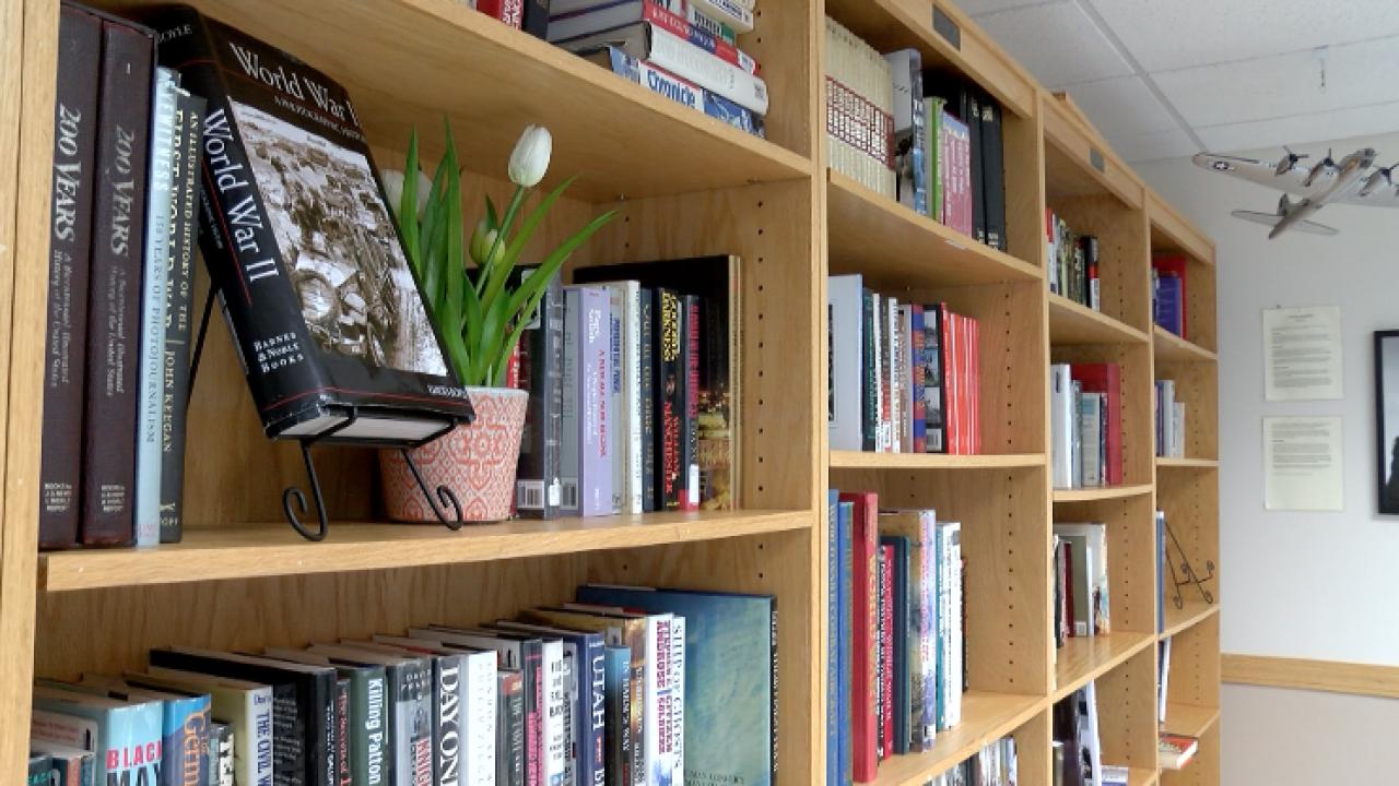 Military library bookshelf