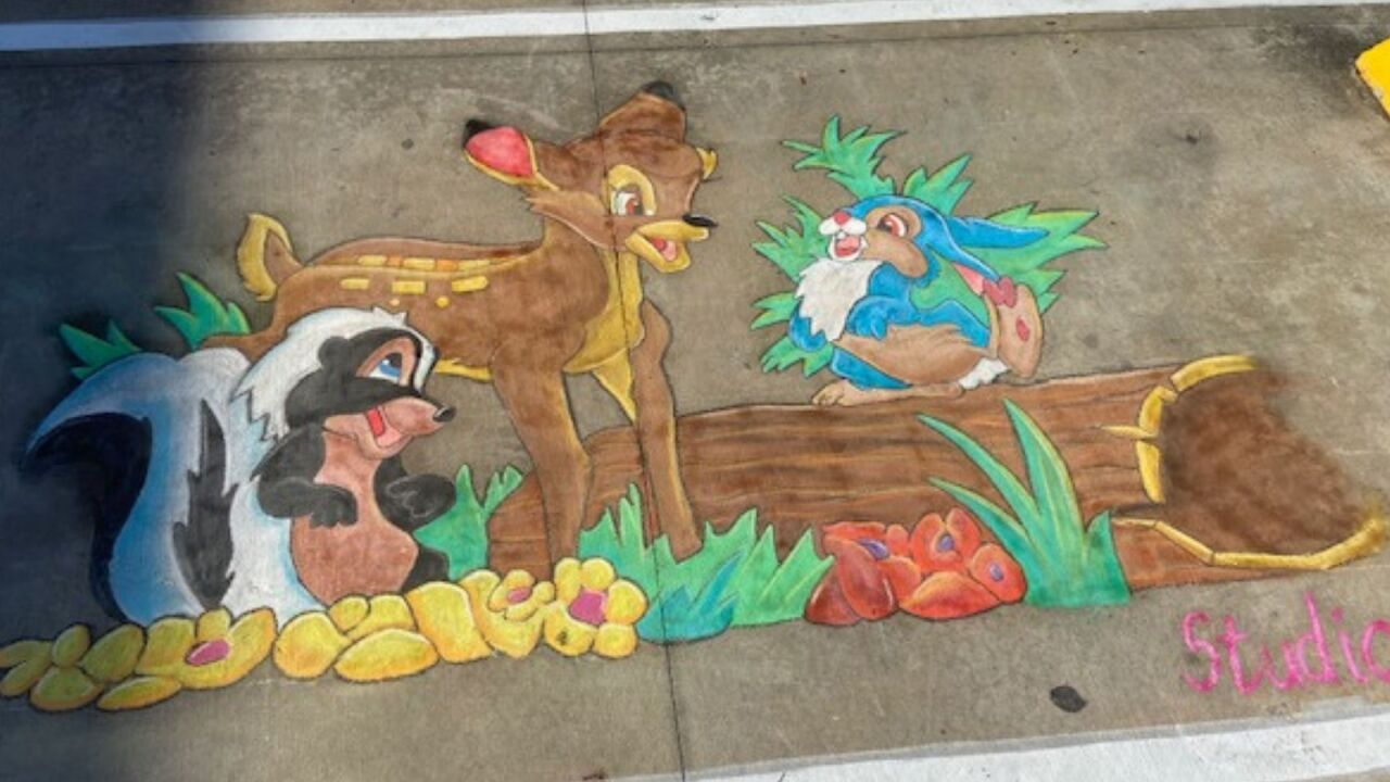 Artists spread Disney magic with chalk drawings on sidewalks