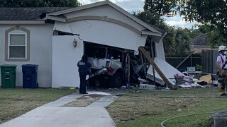 Vehicle trapped in a garage after crash