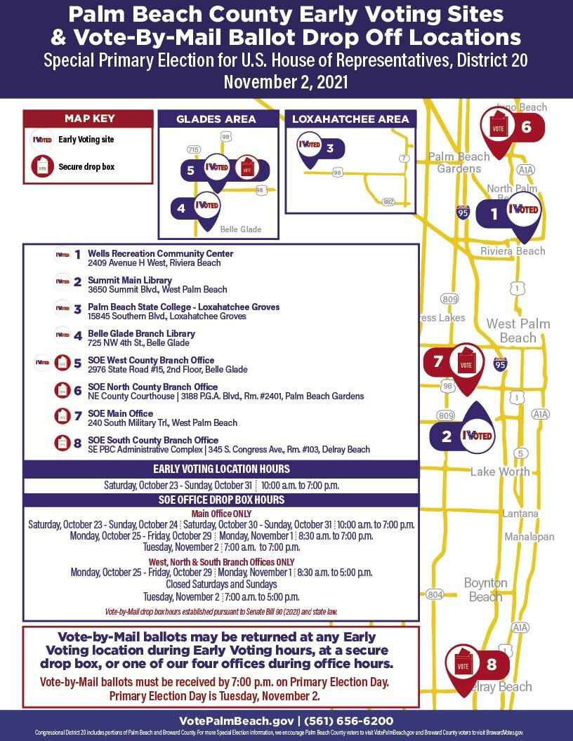 Palm Beach County Early Voting Sites & Vote-By-Mail Ballot Drop Off Locations for 20th Congressional District Special Election